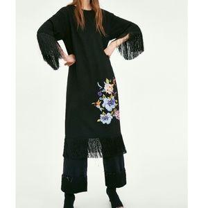ZARA Fringed T-shirt Dress w/ Embroidered Flowers
